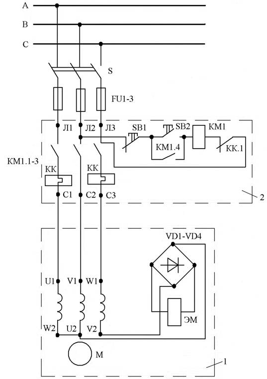 схема тормоза электродвигателя.